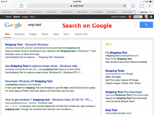 image of a page with a search on Google
