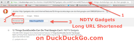 Shorten URLs while search on DuckDuckGo