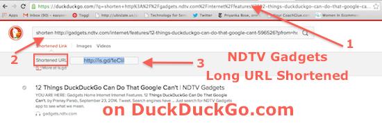 Shorten URLs while search on DuckDuckGo