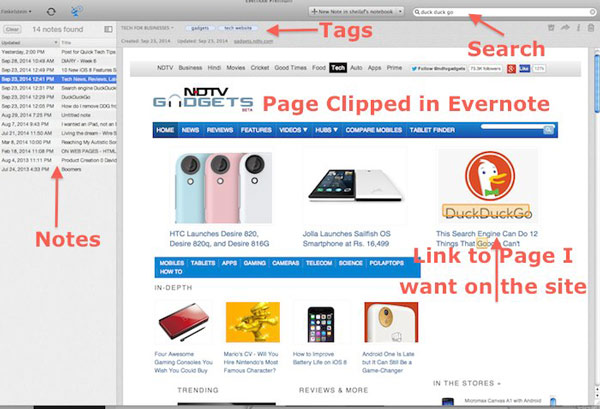 Web page in Evernote saved with Web Clipper