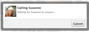 Facebook Message waiting for Suzanne to take call