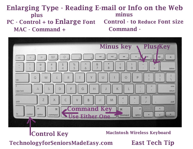 how to change size of font using keyboard