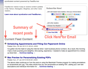Feedburner email sign-up link to receive notification of new blog posts for Technology for Seniors Made Easy