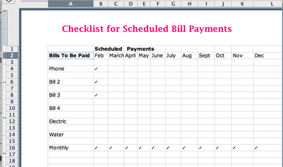 Excel Spreadsheet Check List for Bill Payment