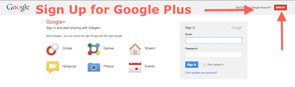 Sign up for Google Plus
