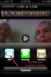iPhone send to mail, messge or YouTube