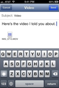 place for message in iPhone email plus video icon