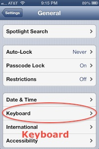 iPhone keyboard setting