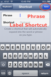 Keyboard to Name Long phrase and create shortcut