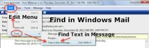 Find in Windows Mail