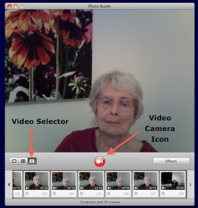 Video select icon in Photo Booth on the iMac