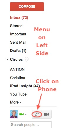 Gmail Menu Showing Phone Icon
