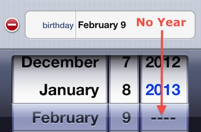 IPhone Birthday Field - No Year