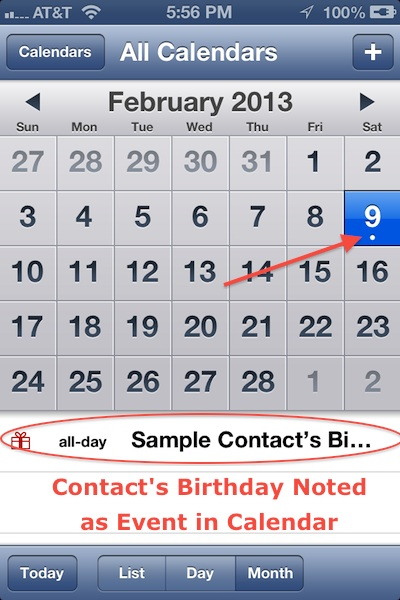 iPhone Contact Birthday in Calendar
