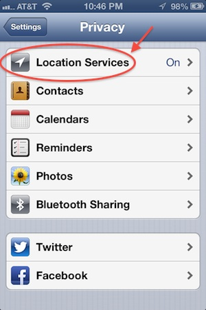 Location Services - iPhone