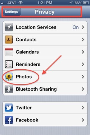 iPhone Privacy Photo Settings