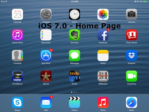 Apple iOS 7.0 Home Page on iPad