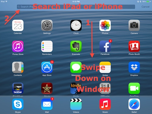 Search iPad or iPhone in iOS 7.0