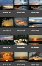 Assorted Sunset Thumbnail Photos in Bridge