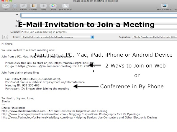 Zoom eMail Invitation