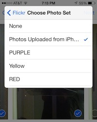 Choose a Set on Flickr for Uploaded Photos
