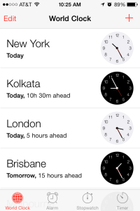 iPhone World Clock