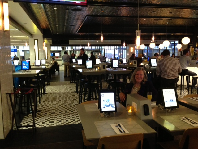Terry in Restaurant with iPads