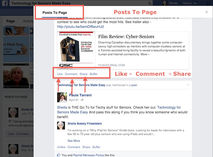 Left-Column Posts on Facebook Page