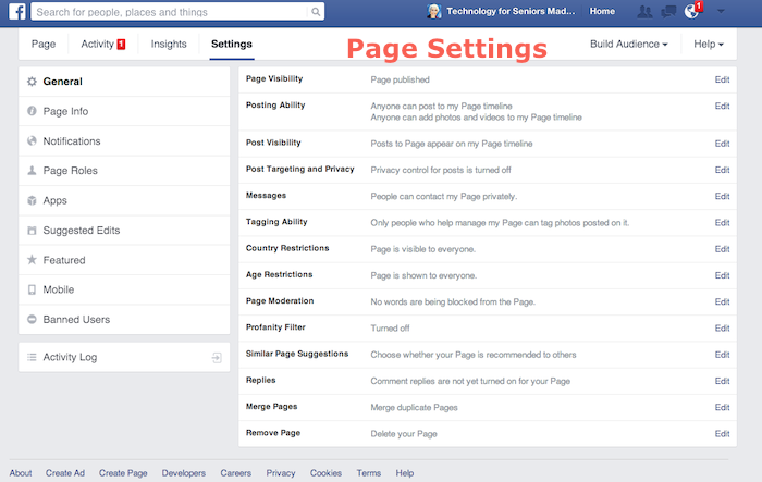 Settings for Facebook Pages