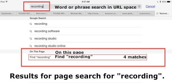 Word Find Results on this Page in Safari