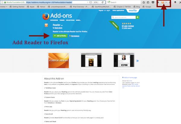 Screenshot - Add Reader to Firefox